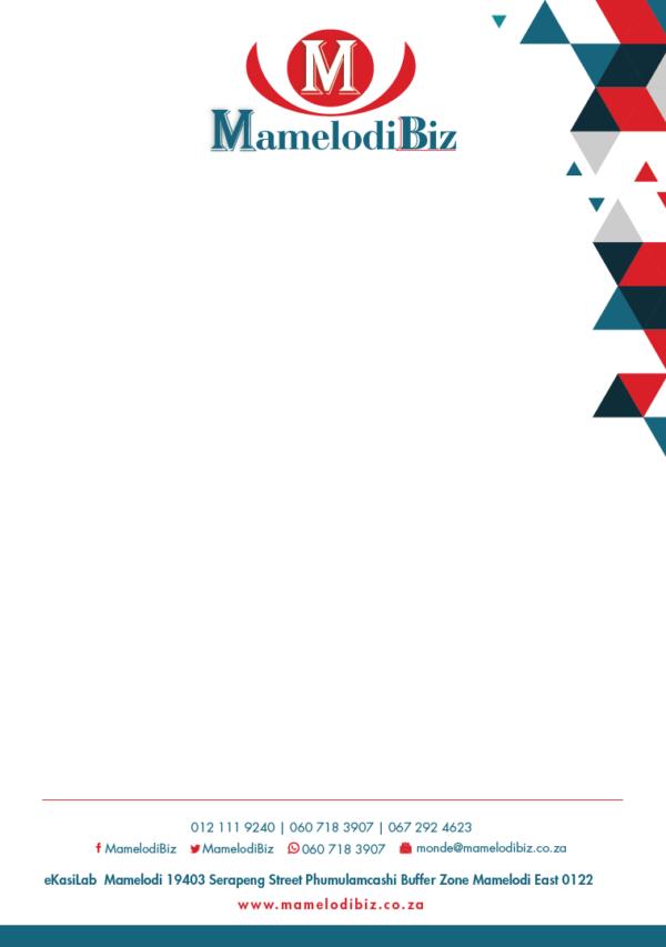 MamelodiBiz Letterhead Design
